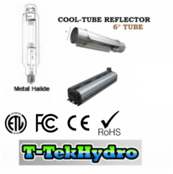 ELECTRONIC DIMMABLE 1000W BALLAST FAN COOLED – 1000W Metal Halide GROW LAMP – CoolTube 6 Reflector Complete Kit