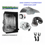 T-TekHydro GROW TENT 3ft x 3ft x 6ft – 250W CFL 6500K BLUE LAMPS – CFL Wing 18- Complete Kit