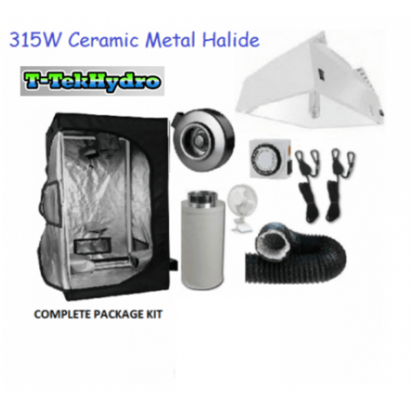 T-TekHydro GROW TENT 4ft x 4ft x 6 12ft – 315W CERAMIC METAL HALIDE GROW LIGHT FIXTURE- Fan-Filter Complete Kit